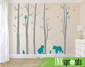 Birch Decal with Woodland Animals ,5 Birch decal, Bear decal, bunnies, birch tree set, Birch forest,Nusery, Modern Nursery, Nursery decals
