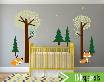 Forest Friends wall Decal, Trees with Fox decal, Cute fox decal, Woodland Theme Nursery, Fox Nursery, Nursery Decal, Pine trees, Owl tree