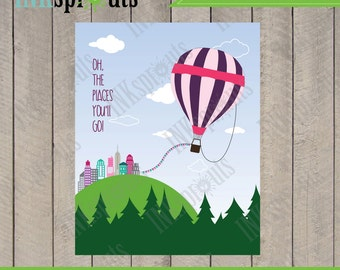 INSTANT DOWNLOAD, Hot air Balloon,  Quote, place, Transportation, nursery print, Item 014D