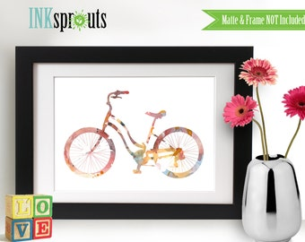 Watercolor Bicycle Print, Watercolor silhouettes, bike, vintage bicycle The places you'll go, Nursery Print, Transportation, Item  WC014B