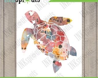 INSTANT DOWNLOAD - Watercolor Sea Turtle Print, Watercolor silhouettes, Sea Life, Beach theme, Nursery Print, Under the Sea, Item  WC008C