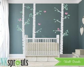 Birch tree Set with Birds Decal,3 Birch decal, Large birch tree, Birch forest, Modern Nursery, Nursery decals, Baby Decals, Baby Shower