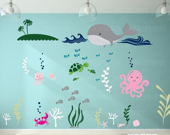 Under the sea Decal, Large ocean animal scene, Anchor Nautical decal set, Nautical decal,  Modern Nursery, Nursery decals