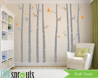 Birch Tree Decal with flying Birds, Set of 8 trees, Large Birch set, birch tree set, Birch forest, Nursery decals, Baby Decals
