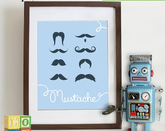 Mustache Print, Mustache, modern nusery, Little Man, Quote, boys room, boys nursery, nursery print, Item 088