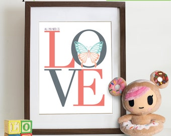 Butterfly Love Print, shabby chic nursery, Butterfly print, beattles, Love quote, All you need is love, Nursery Print, Item 0125