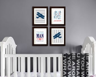 Airplane Print, Biplane, Aviation, Transportation print, Plane, airplane w stripes, Alphabet, Skys the limit, Quote, boys room, Item 067