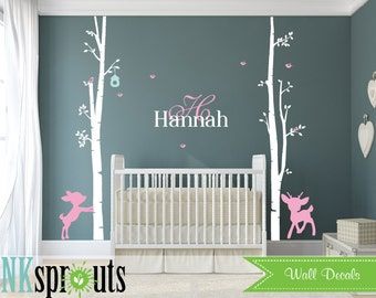 Birch Decal with Birds and fawns and custom name ,2 Birch decal, baby deer, birch tree set, Nusery Birch trees, Nursery decals