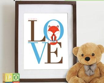 Fox Love print, Fox print, woodland animals, forest friends, fox, cute fox, all you need is love, nursery fox, Nursery Print, Item 084