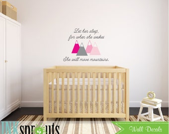 Let her sleep quote Decal, Mountains quote, little girls decal, Baby Shower, Classic, Simple, Modern Nursery, Nursery decals, Baby Decals,