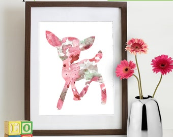 INSTANT DOWNLOAD - Watercolor Fawn Deer Print, Watercolor silhouettes, Bambi, baby deer, woodland animals, Nursery Print, Forest animals,