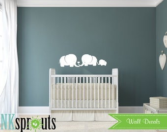 Cute Elephant family Decal, Baby Elephant, Safari Decal, Jungle, safari nursery, Modern Nursery, Nursery decals, Baby Decals,
