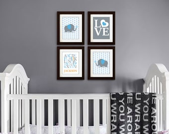 Elephant Nursery Print, Nursery Print, Polkadots, Elephant family print, Alphabet, Cute Elephant, love, Custom name, Item 052