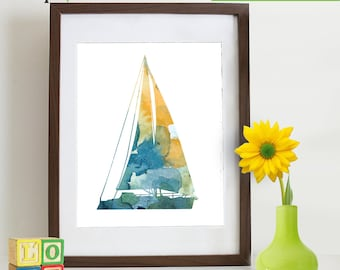 Watercolor Sailboat Print, Watercolor silhouettes, Boat, Beach theme, Nursery Print, Ocean print, Under the Sea, Item  WC009A