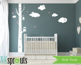 Birch tree with Owl Decal, Birch decal, Single birch tree, Birch with Birds, Birch forest,  Modern Nursery, Nursery decals, Baby Decals,