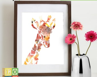 INSTANT DOWNLOAD - Watercolor Giraffe Print, Watercolor silhouettes, Safari animals, Cute giraffe , africa,  Nursery Print, animals