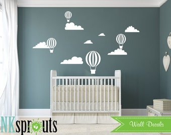 Hot Air Balloon Decal, Oh the places you'll go, air balloons decal, Clouds, Classic, Simple,  Nursery, Nursery decals, Baby Decals