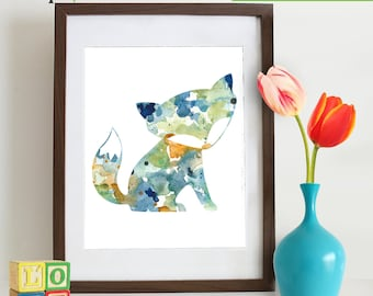 INSTANT DOWNLOAD - Watercolor Fox Print, Watercolor silhouettes, woodland animals, Cute fox ,  Nursery Print, Forest animals, ItemWC026