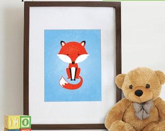 Cute Fox Print,  Fox Print, Nursery Fox, Animal silhouette, Nursery prints, Animal prints, fox, Item 074