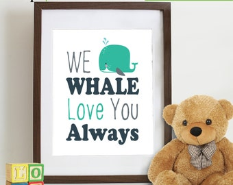 Whale Print, Whale Love, Love print, Under the sea theme, Ocean, Beach theme, Orca, nautical, dr suess, Whale decal ,  Item 113