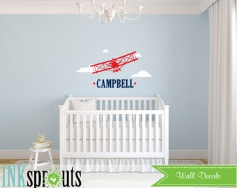 Airplane with nameDecal, Biplane Decal, Large Biplane, Aviation, Transportation decal, Sky's the limit, Modern Nursery, Nursery decals,