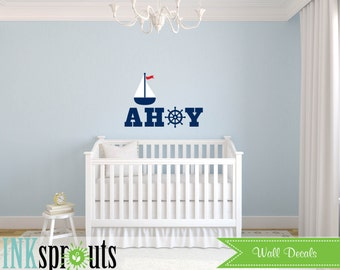 Sailboat Decal, boat decal, Ahoy, Nautical decal , Beach theme, Sea, Under the sea, Modern Nursery, Nursery decals, Baby Decals,