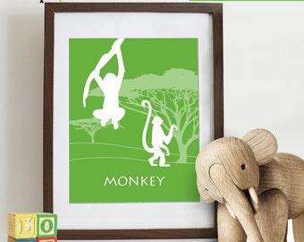 Monkey Print, Safari Animal Set, monkeys, Elephant, rhino, hippo, Safari, Giraffe, Animal Silhouette, Lion,  Item 085