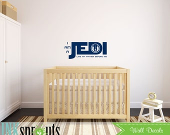 Star Wars Inspired Decal, Jedi Quote, I am a Jedi, The force is strong, Starwars, Jedi Symbol, Rocket, Outerspace, Nursery decals