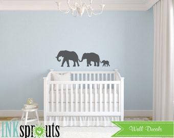 Elephant family Decal, Elephant Train, Baby Elephant, Safari Decal, Jungle, safari nursery, Modern Nursery, Nursery decals, Baby Decals,