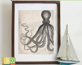 Octopus print, vintage octopus, nautical, ocean theme, beach theme, Antique, sailor print, sealife, under the sea, retro item 116