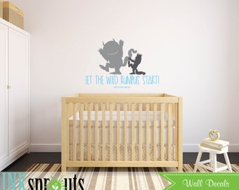 Wild things are Inspired Decal, Let the wild rumpus start, Wild things quote, Modern Nursery, Nursery decals, Baby Decals,