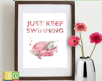 INSTANT DOWNLOAD- Watercolor Just keep swimming Print, Watercolor silhouettes, Nemo, Beach theme, Nursery Print, Under the Sea, Item  WC006