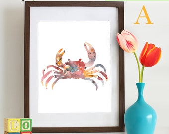 Watercolor Crab Print, Watercolor silhouettes, Sea Life, Beach theme, Nursery Print, Ocean print, Under the Sea, Item  WC002