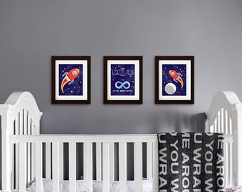 Rocket print, Nursery Print, Space print, Space ship print, To infinity and beyond, Outspace print, Item 005