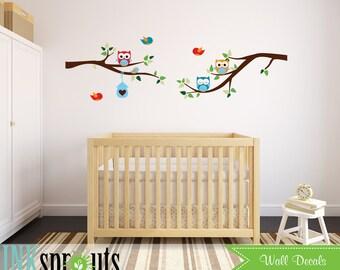 Owls on Branch Decal, Cute Owls, Branch Decal, Birds on Branch,  Nursery Owls, Birdhouse, Modern Nursery, Nursery decals, Baby Decals,
