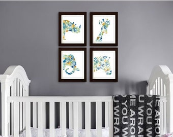 Watercolor Safari Animal set Print, Watercolor silhouettes, zebra, elephant, rhino, Giraffe, Nursery Print,  Item  WC044