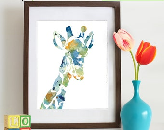 INSTANT DOWNLOAD -Watercolor Giraffe Print, Watercolor silhouettes,Safari animals, Cute giraffe , africa,  Nursery Print, animals, ItemWC029