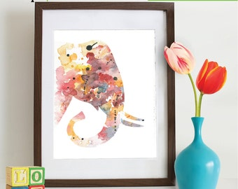 Watercolor Elephant Print, Watercolor silhouettes, Safari animals, Cute elephant , africa,  Nursery Print, animals, ItemWC035
