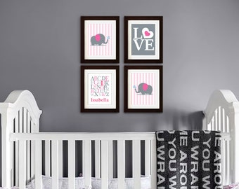 Elephant Nursery Print, Nursery Print, Stripes, Elephant family print, Alphabet, Cute Elephant, love, Custom name, Item 053