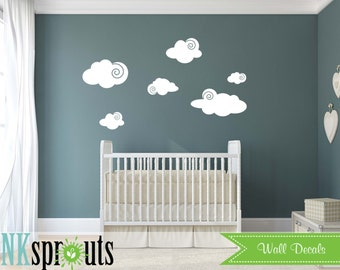 Cute Clouds, Cloud decal, Sunshine, you are my sinshine, Nursery decals, Baby Decals, Rain, Gray Skys