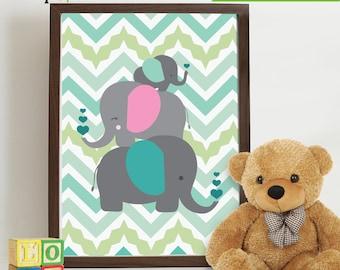 Elephant Print, Chevron pattern, Nursery Print, elephant family, heart print  Item 002