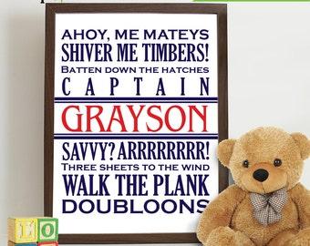 Pirate Print, Pirate phrases, Custom name Print, Boys Room Nursery Print, Nautical print, Under the Sea Print, Item  025