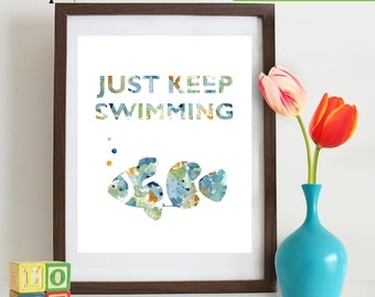 Watercolor Just keep swimming Print, Watercolor silhouettes, Fish, Beach theme, Nursery Print, Ocean print, Under the Sea, Item  WC005
