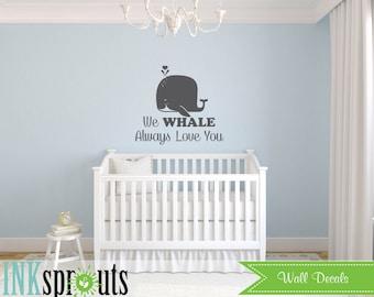 Cute Whale Decal, Baby whale, Whale family, Nautical decal , Orca, Sea, Under the sea, Modern Nursery, Nursery decals, Baby Decals,