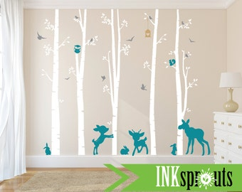 Birch Decal with Woodland Animals ,5 Birch decal, fawn, moose,bunnies, birch tree set, Birch forest,Nusery, Modern Nursery, Nursery decals