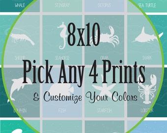 Sea Life Animal Prints, Nursery Print, Fish, octopus, shark, seahorse, starfish, Ocean print, Under the Sea Print, Item  013