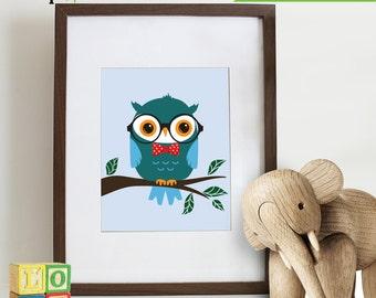Owl Print, Owl Hipster, Owl in glasses, Owl art, owls, Owl Nursery, Owl family, Nursery Print, Item 043