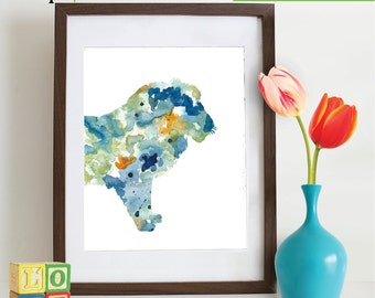 Watercolor Lion Print, Watercolor silhouettes, Safari animals, Lion King , africa,  Nursery Print, animals, ItemWC041