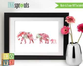 INSTANT DOWNLOAD Watercolor Elephant family Print, Watercolor silhouettes, Safari animals, Cute elephant , africa,  Nursery Print, animals