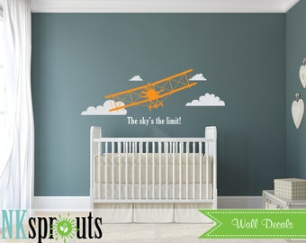 Airplane Decal, Biplane Decal, Large Biplane, Avaition, Transportation decal, Sky's the limit, Modern Nursery, Nursery decals, Baby Decals,